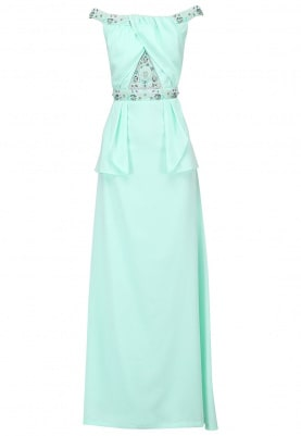 Light Green Embellished Peplum Dress