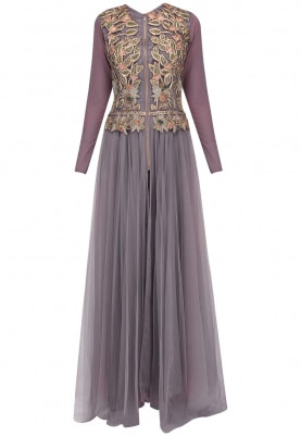 Mauve Drop Waist Fitted Gown