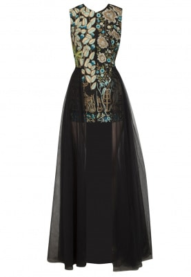 Black Embroidered Bodycon Dress with Long Trail
