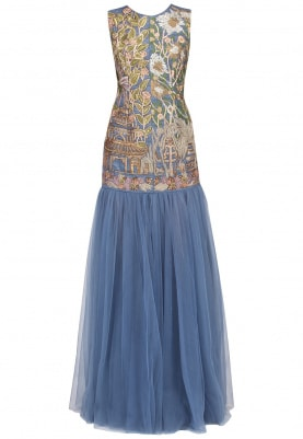 Slate Blue Embroidered Gown