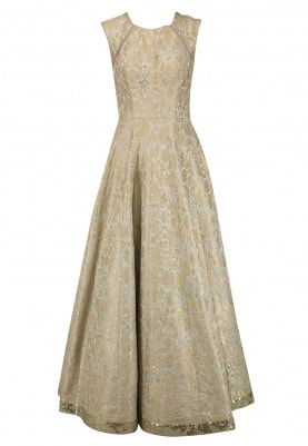 Grey Paisley Pattern Anarkali Set
