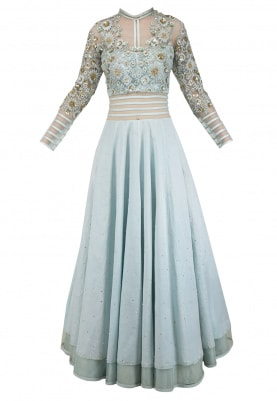 Powder Blue Embroidered Anarkali Set