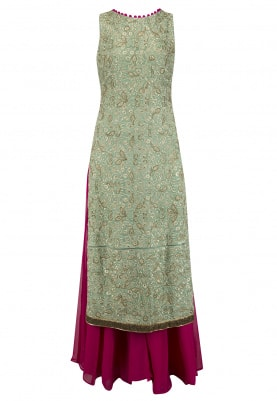 Light Green Embroidered Kurta with Sharara Set