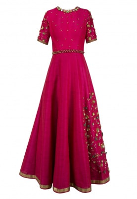 Hot Pink Embroidered Anarkali Set