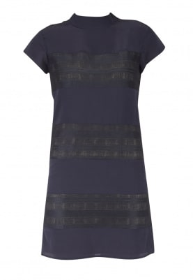 Navy High Collar Dress