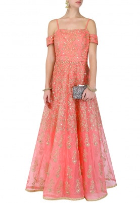 Sorbet Pink Cold-Shoulder Anarkali