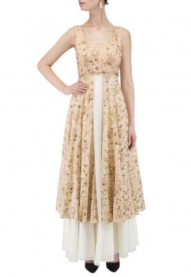 Peach And Ivory Double Layered Anarkali