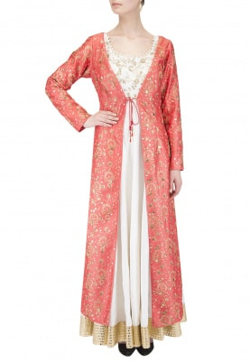 Coral Red Jacket And Ivory Anarkali