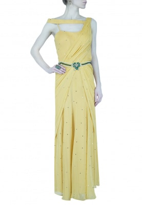 Mustard Draped Saree