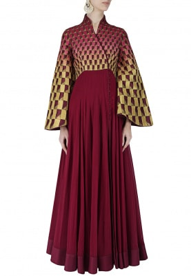 Maroon, Mustard Shaded Angarakha Style Anarkali