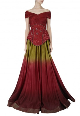 Maroon Shaded Mermaid Gown