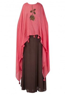 Brown Skirt With Pink Embroidered Kaftan Top