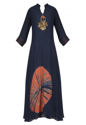 Navy Blue Embroidered Ankle Length Dress
