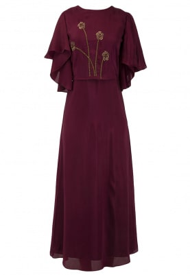Maroon Floral Hand Embroidered Gown