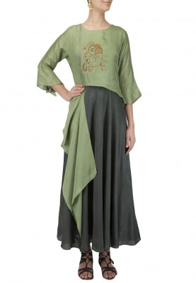Bottle Green Skirt With Drape Embroidered Crop Top