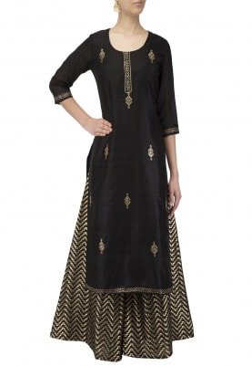 Black Hand Embroidery Kurta With Brocade Skirt