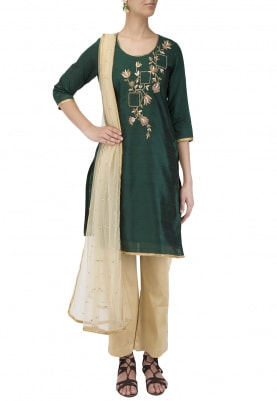 Green Hand Embroidered Kurta Set