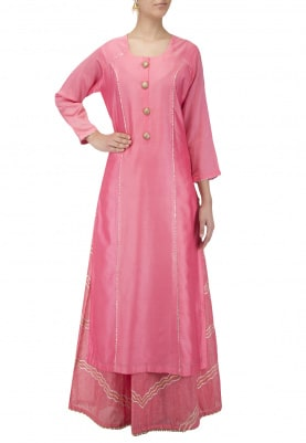 Pink Hand Embroidered Kurta With Silk Skirt