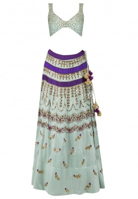 Powder Blue Mirror Work Lehenga Set