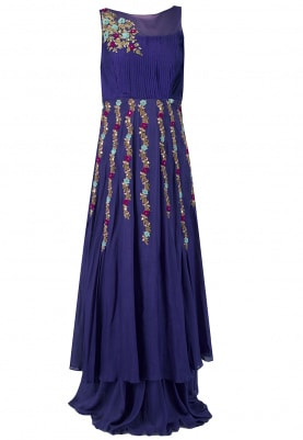 Purple Parrot Motif Embroidered Dress
