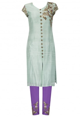 Powder Blue Embroidered Kurta With Purple Pants Set