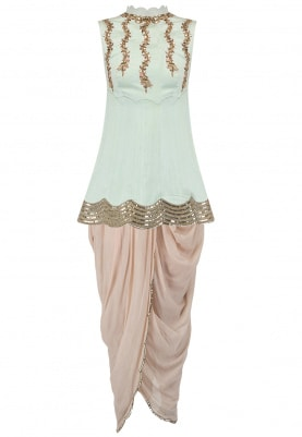 Powder Blue Short Kurta With Peach Cowl Pants Set