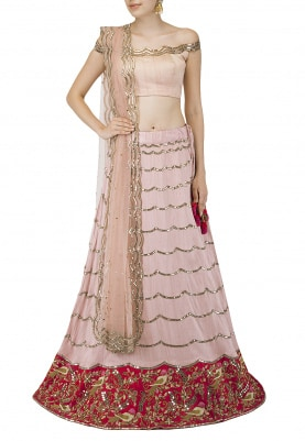 Peachish Pink Embroidered Lehenga Set