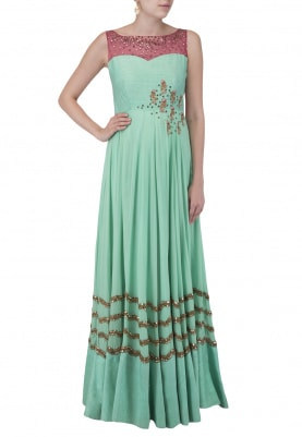 Powder Blue Mirror Work Gown