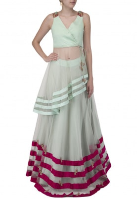 Powder Blue Embroidered Lehenga With Short Kurta