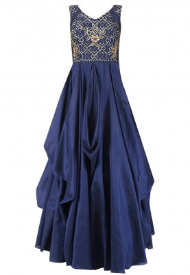 Deep Midnight Blue Embroidered Drape Gown