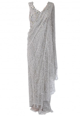 Mist Grey Embroidered Drape Saree Gown