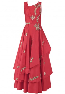 Red Embroidered Drape Gown