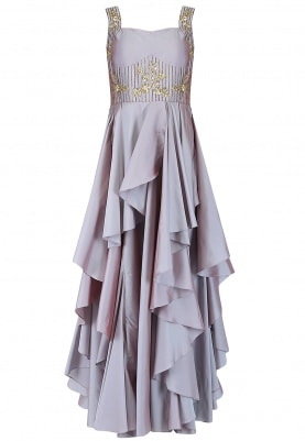 Rose Dust Layered Asymmetric Gown