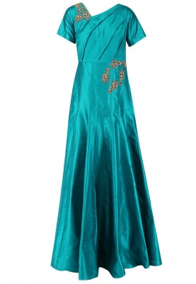 Ultramarine Green Embroidered Panelled Gown