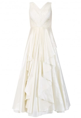 Ivory Pleated Drape Gown