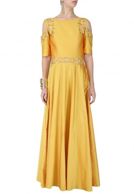 Sunflower Yellow Embroidered Cold Shoulder Dress