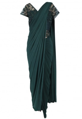 Green Forest V-Neck Drape Saree
