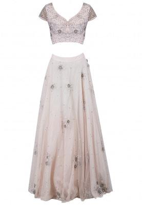 Blush Pink Sage Blossom Lehenga Set