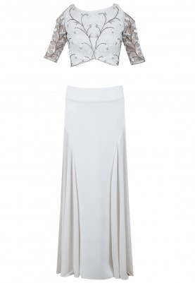 Ivory Pleated Lehenga With Cold Shoulder Crop Top