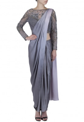 Slate Grey Drape Saree