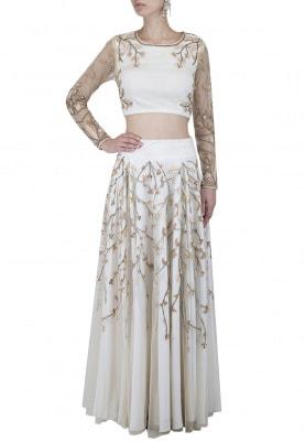 Ivory Embellished Lehenga Set