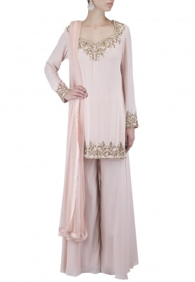 Blush Hand Embroidered Sharara Set