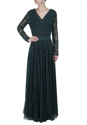 Forest Green Embellished Gown