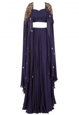 Midnight Blue Hand Embroidered Cape With Lehenga Set