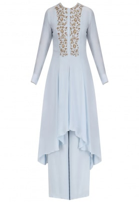 Powder Blue Hand Embroidred Asymmetic Kurta With Palazzos Set