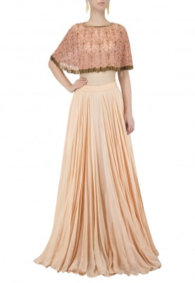 Peach Embroidered Cape With Skirt Set