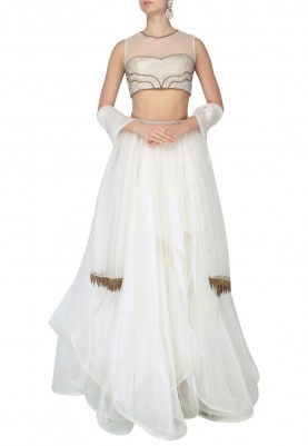 Ivory Layered Lehenga With Embroidered Blouse Set