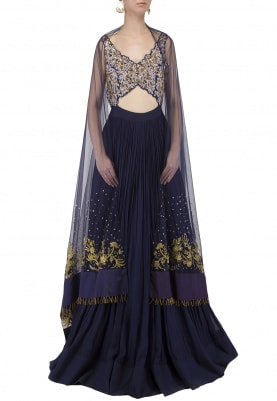 Midnight Blue Hand Embroidered Anarkali Set