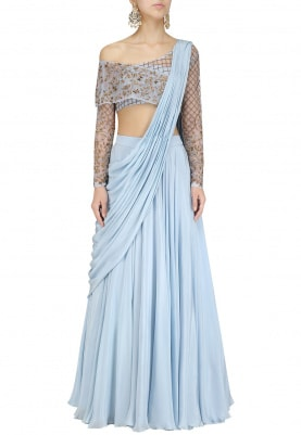 Powder Blue Hand Embroidered Lehenga Set