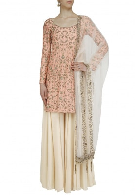Peach And Beige Hand Embroidered Sharara Set